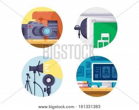 Photography industry icon collection. Shooting in studio on camera and on computer processing. Vector illustration