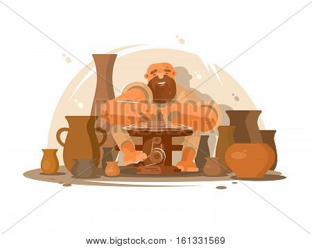 Potter bearded man. Professional worker produces clay jugs. Vector illustration