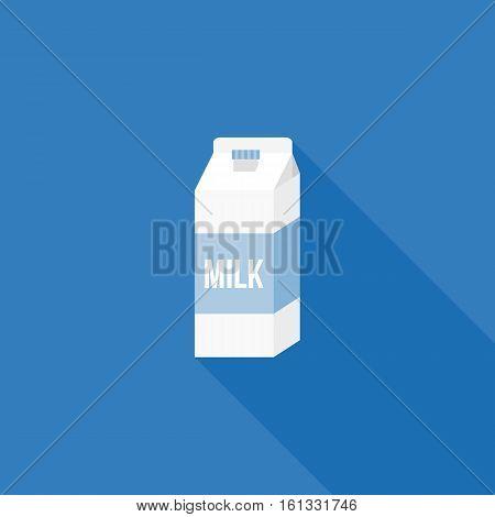 Milk carton paper packaging icon, flat design vector
