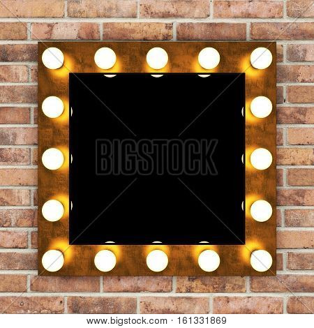 Golden retro makeup mirror on brick wall. 3D rendering