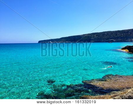 Awesome Formentera Island beach view in Spain.