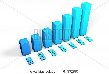 3d blue growing buisness chart for year 2017 isolated on white