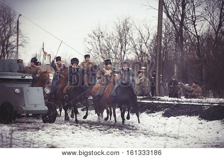 Civil War Reenactment In The South Of Russia In The Period November 1918 − March 1920