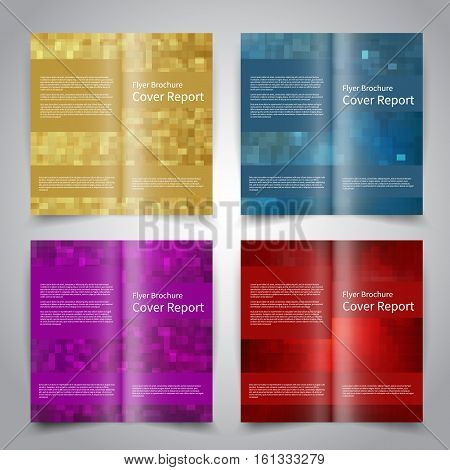 Brochure design templates set with abstract geometric background. Gold, red, blue, purple colors. Vector brochure mockup EPS10