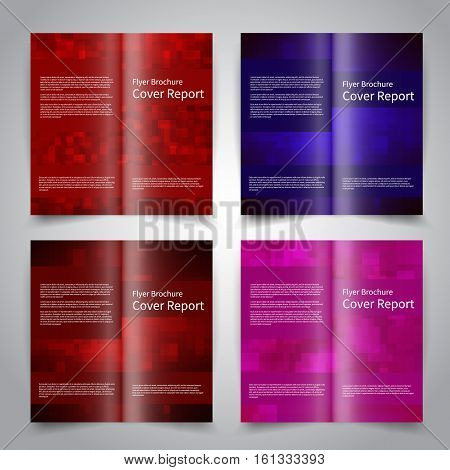 Brochure design templates set with abstract geometric background. Red, blue, purple colors. Vector brochure mockup EPS10