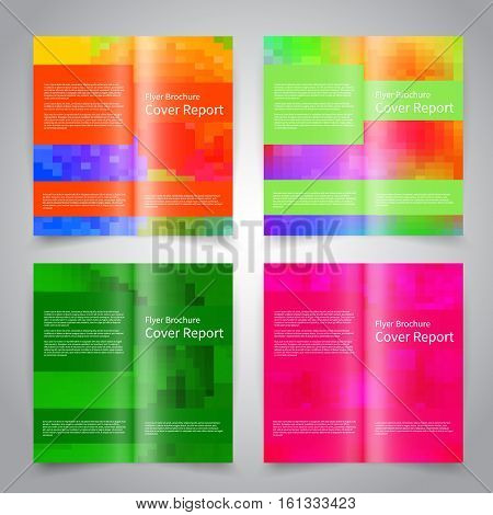 Brochure design templates set with abstract colorful geometric background. Pink, green color. Vector brochure mockup EPS10