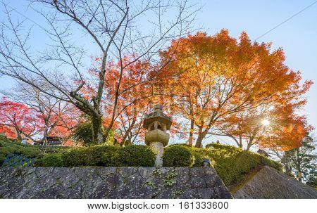 Japanese garden with Shinto shrine in the autumn season in front of Kiyomizu Temple Kyoto Japan