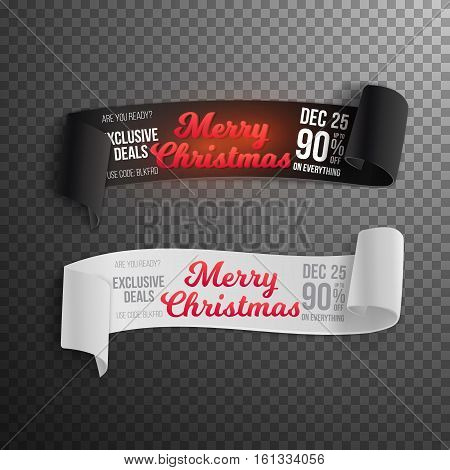 Illustration of Marry Christmas Sale Vector Banner Template. Realistic Vector Ribbon Banner Icon. Winter Holiday Season Sale Vector Ribbon