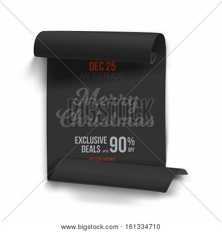Illustration of Marry Christmas Vector Scroll Banner Template Isolated on White Background. Realistic Vector Ribbon Banner Icon. Holiday Christmas Season Winter Sale Paper Scroll
