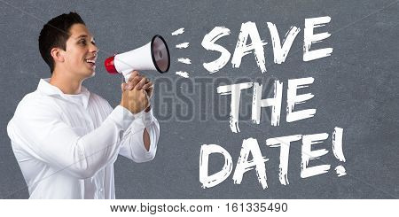 Save The Date Invitation Message Information Young Man Megaphone