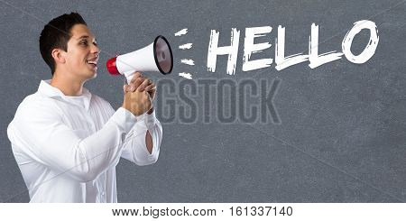 Hello Greeting Welcome Message Young Man Megaphone