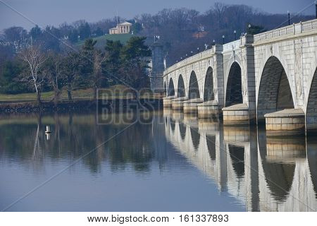 Arlington Memorial Bridge with reflection on Potomac River t - Washington DC,  United States of America
