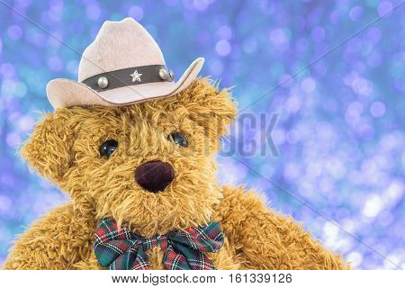Close up cowboy teddy bear with blue bokeh background