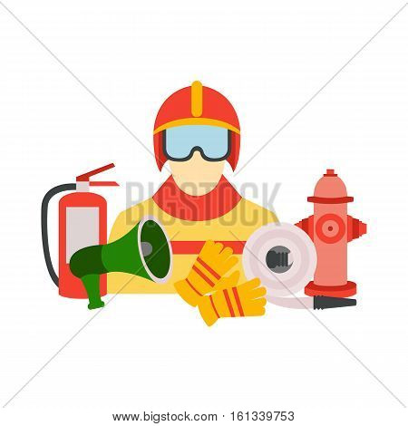 Vector set collection of firefighter equipment vector illustration