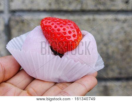 Japanese Traditional Dessert, Strawberry Mochi