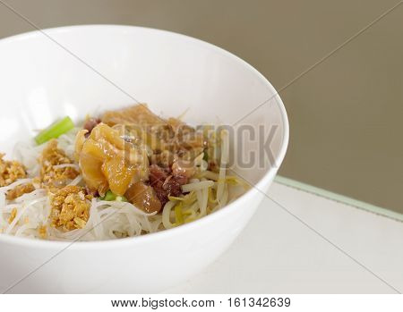 Close Up Dry Noodle With Pork In Melanine Bowl Chinese Food