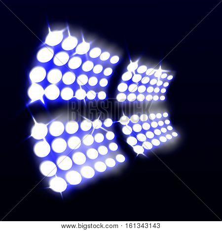 floodlight stadium. on a dark background, the object tool. lamp. EPS 10