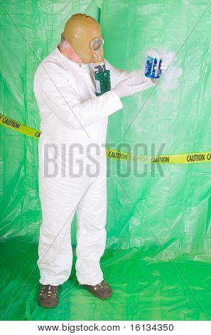 Man In Hazmat Clothing In Decontamination Chamber