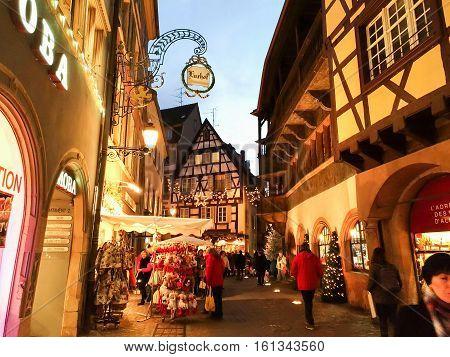 Colmar, France - December 9, 2016: Street decorated for Christmas, Colmar, France.