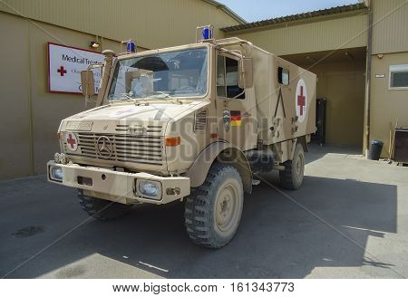 MAZAR - I - SHARIF / AFGHANISTAN - OCTOBER 16 2010: german military ambulance vehicle