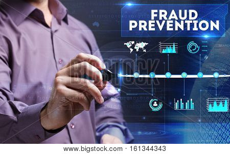Technology, Internet, Business And Marketing. Young Business Person Sees The Word: Fraud Prevention