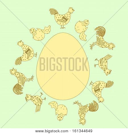 Chicken Family Around Egg Card