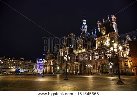 City Hall building (Hotel de Ville) in Paris France