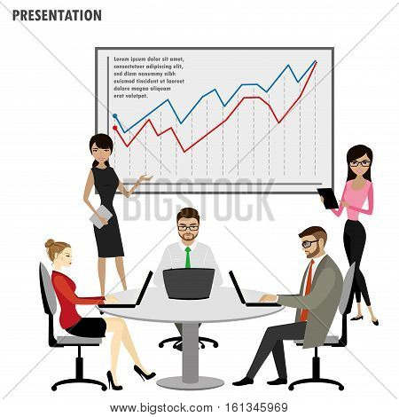 Business People Group Presentation Flip Chart Financeisolated on white background stock vector illustration