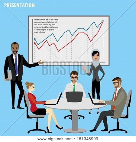 Business People Group Presentation,Flip Chart Finance, isolated on white background ,stock vector illustration