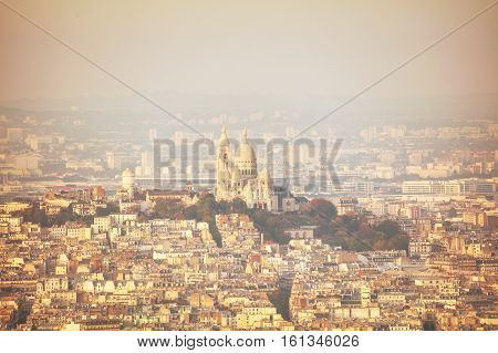 Aerial view of Paris with the Basilica of Sacre Coeur