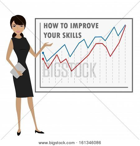 Business woman presenting isolated on white stock vector illustration