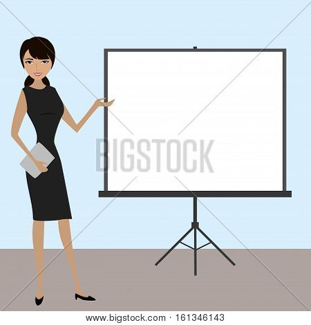 Business people with projector screen . Presentation concept. Vector design.