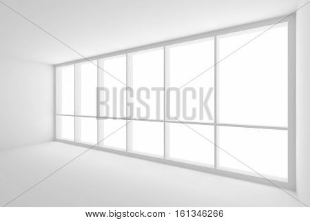 Business architecture white colorless office room interior - large window in empty white business office room with white floor white ceiling white walls and empty space 3d illustration