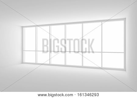 Business architecture white colorless office room interior - empty white business office room with white floor white ceiling white walls and large window and empty space 3d illustration.