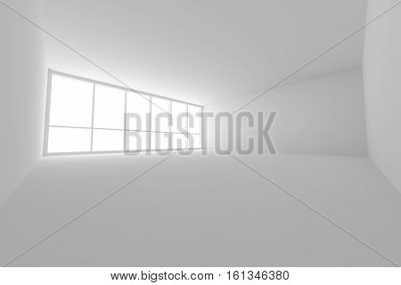 Business architecture white colorless office room interior - empty white business office room with white floor ceiling walls and large window and empty space 3d illustration wide angle