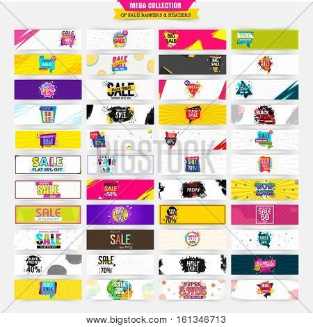 Mega collection of Sale and Discount website headers or banners for business concept.