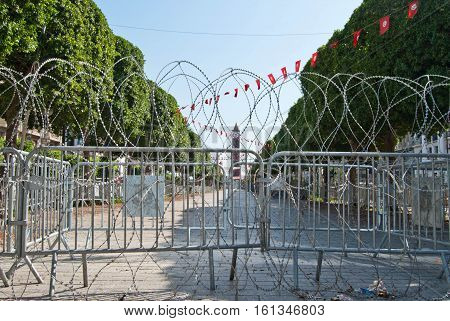 Tunis central square of the city with barbed wire