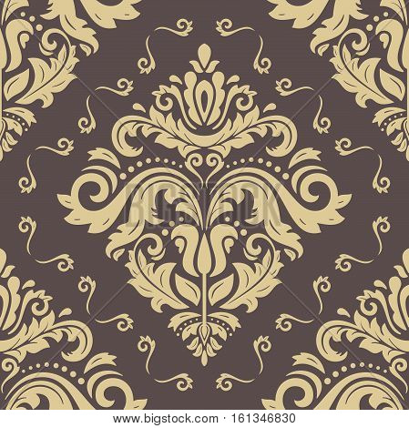 Seamless classic vector brown and golden pattern. Traditional orient ornament. Classic vintage background