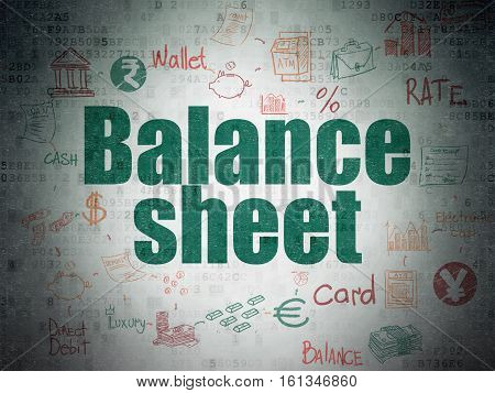 Banking concept: Painted green text Balance Sheet on Digital Data Paper background with  Scheme Of Hand Drawn Finance Icons