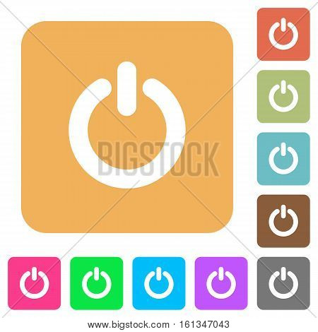 Power switch icons on rounded square vivid color backgrounds.
