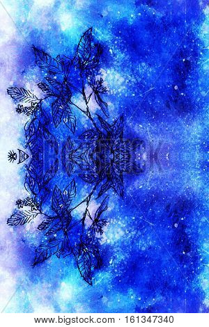 abstract background pattern with linear leaf ornament and spotted multicolor surface in blue tones.