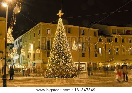Christmas ornaments in the historic center of Rimini