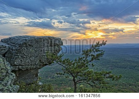 Sunset At Cheaha Overlook In The Cheaha Mountain State Park In Alabama