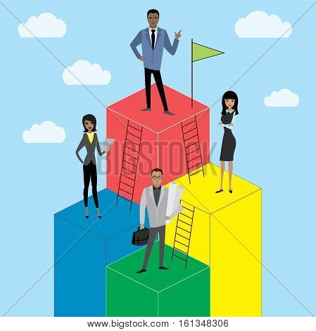 Business Growth or career laddercartoon businessman and businesswoman stock vector illustration
