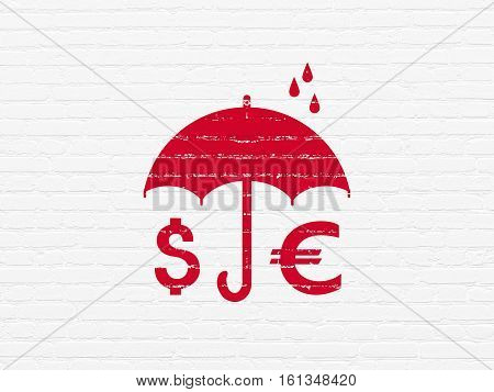 Privacy concept: Painted red Money And Umbrella icon on White Brick wall background