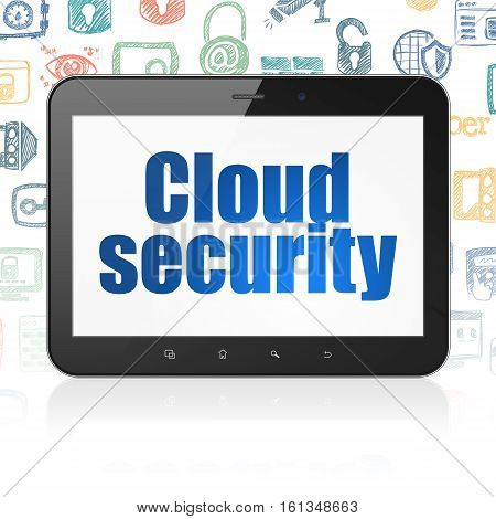 Security concept: Tablet Computer with  blue text Cloud Security on display,  Hand Drawn Security Icons background, 3D rendering