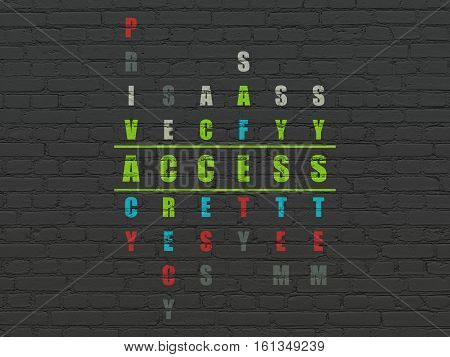 Privacy concept: Painted green word Access in solving Crossword Puzzle