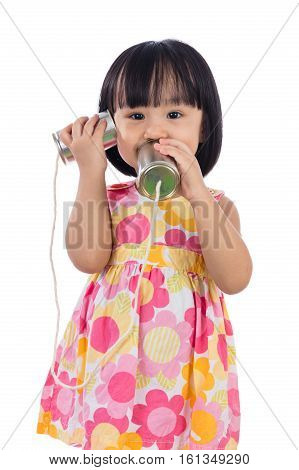 Asian Chinese Little Girl Playing Tin Can Phone