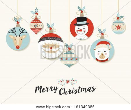 Cute Merry Christmas Retro Bauble Greeting Card