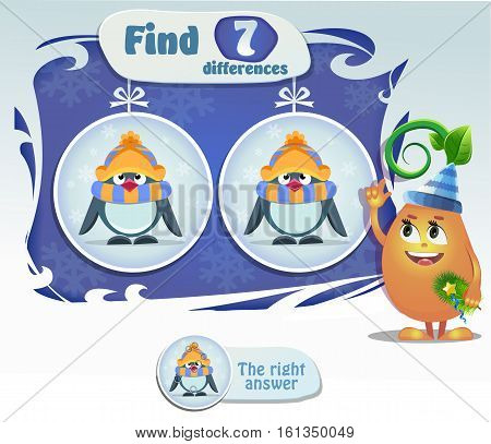Visual Game for children. Task: find 7 differences penguin